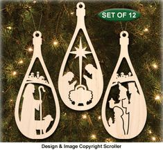Special 3 Pattern Set of our Newest and Most Popular Ornaments Set of 12 Nativity Ornament Patterns sizes included) Santa's Reindeer Ornament Set & Set of 12 Ornate Christmas Ornaments Christmas Ornament Template, Nativity Ornaments, Holiday Ornaments, Scroll Saw Patterns Free, Wood Patterns, Christmas Crafts, Christmas Decorations, Christmas Wood, Creations