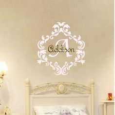 Baby Girl Name Damask Wall Decal Nursery Monogram Vinyl Sticker Decor 2. $30.00, via