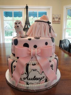 Absolutely ADORABLE baby shower cake/idea...can see envision this in so many ways!!  Ultimate in girly!~~Paris Baby Shower | Cakes by Nathalie - http://www.cakesbynathalie.com/2011/09/paris-baby-shower.html