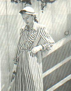 Mrs Howard Hawks in a striped shirtwaist dress-1945