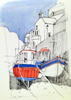 Red boat in Roxby Beck, Staithes