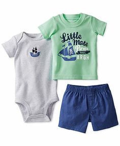 Carter\'s Baby Boys\' 3-Piece Bodysuit, Tee & Diaper Cover Set