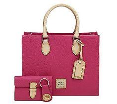 Dooney & Bourke Leather Janine Satchel w/ Accessories - QVC.com