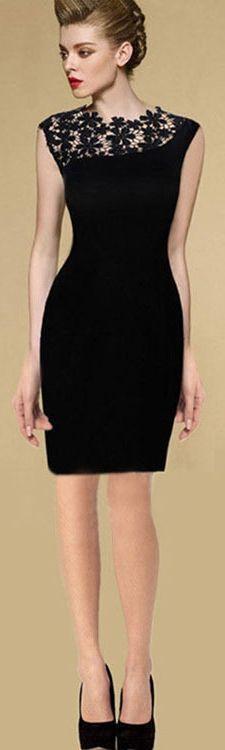 European Style Stunning Sexy Black Elegant Lace Dress