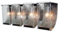 Recycled Vanity | Recycled Rain Bath Light - Four Light in Rainy Night modern bathroom ...