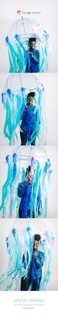 Looking for a crafty costume this year? YaaYaa's umbrella turned jelly fish costume is just the answer to help you float from party to party. Halloween Jelly, Halloween 2015, Creative Halloween Costumes, Holidays Halloween, Diy Costumes, Halloween Themes, Costume Ideas, Mermaid Under The Sea, The Little Mermaid