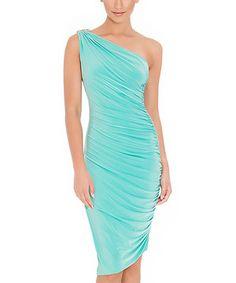 Look what I found on #zulily! City Goddess Aqua Grecian Goddess Asymmetrical Dress by City Goddess #zulilyfinds