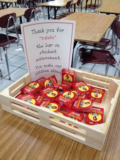 Teacher Appreciation - Could be adapted for parent/teacher conferences. Thank you for raisin the bar of student leadership Employee Appreciation Gifts, Volunteer Appreciation, Teacher Appreciation Week, Volunteer Gifts, Teacher Appreciation Breakfast, Teacher Treats, Teacher Gifts, Teacher Stuff, Bad Teacher