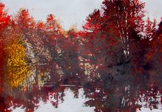 "burgundy morning / muskoka river / mathiasville 18"" x 26"" micheal zarowsky / watercolour on arches paper private collection"