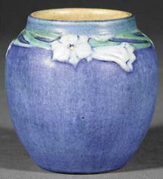 pottery & porcelain, Louisiana, A Newcomb College art pottery matte glaze vase, 1926, decorated by Anna Frances Simpson, relief-carved motif...