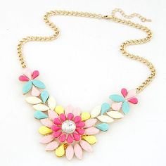 Find More Pendant Necklaces Information about Rhinestone Flower Resin Necklace Pendant Charm Jewelry Chain Pendant Crystal Choker Chunky Statement Bib Necklace A,High Quality jewelry turquoise necklace,China jewelry stand for necklaces Suppliers, Cheap necklace metal from Vogue Jewelry on Aliexpress.com