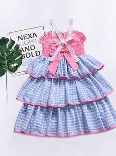 0097d718f37 Enfants Fille Doux Quotidien Tartan Dentelle Sans Manches Maxi Polyester  Robe Bleu