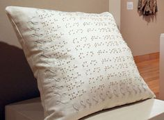 Braille embroidered pillow! *repinned by wonderbaby.org