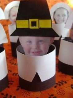 Thanksgiving craft for kids; lol omg.... please say we can make these into bobblehead pilgrims with the kids pics!!!! Hahaha