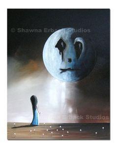 GOTHIC FANTASY PRINT erback art sad moon outsider by shawnaerback, $19.99