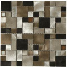 Maniscalco Victoria Metals Falls Creek Blend - Mini Versi Metal Tile - Farmington, New Mexico - Royal Floor Company Vanity Backsplash, Kitchen Backsplash, Backsplash Ideas, Mosaic Glass, Mosaic Tiles, Mosaics, Sally's Kitchen, Kitchen Ideas, Flooring Companies