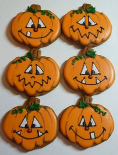 Pumpkin Cookies by cookievonster if you don't have time or talent to bake these...I'm gonna take a crack at them. Look for my version later on Pinterest you are drunk! Ha!