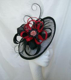 Black Sinamay Saucer Curl Feather and Scarlet Red Loop & Rhinestone Cecily Fascinator Hat - Custom Made to Order #kentuckyderbyhat #kentuckyderby #derbyhat