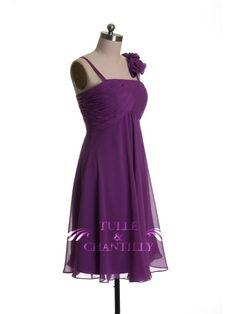 Fall Wedding Ideas - Pretty Knee Length Chiffon Purple Bridesmaid Dress with Spaghetti Straps