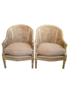 Pair Of Louis XVI Style Caned Barrel Back Bergeres