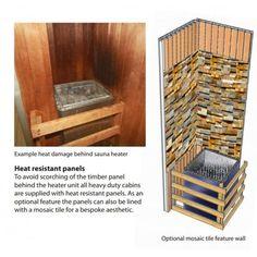 Related image Sauna Heater, Timber Panelling, Heat Damage, Mosaic Tiles, The Unit, Saunas, Cabin, Flooring, Storage