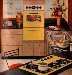 1950s kitchen with yellow appliances.
