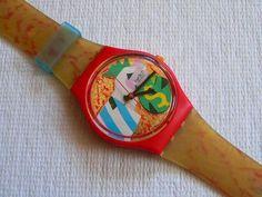 Orologio Swatch Vintage Collage Doré GR116, firmato da Ugo Nespolo nel 1993