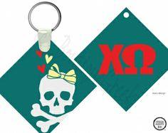 ChiO Skull Hearts Keychain