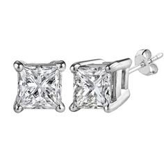 14k white gold princess cut white cubic zirconia stud earrings ($139) ❤ liked on Polyvore featuring jewelry, earrings, white gold jewelry, princess cut cubic zirconia earrings, cubic zirconia earrings, white gold cubic zirconia earrings and 14k earrings