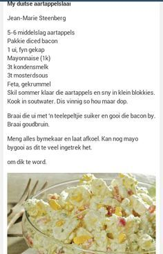 Duitse Aartappelslaai Braai Recipes, Cooking Recipes, Healthy Recipes, Yummy Recipes, Recipies, South African Dishes, South African Recipes, Kos, Braai Salads