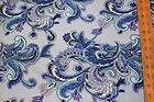 Paisley Jersey Knit Rayon Modal Blend Spandex Lycra Stretch Light Blue Sewing - /RAYON, #blue, BLEND, JERSEY, KNIT, Light, LYCRA, Modal, PAISLEY, Sewing, SPANDEX, Stretch