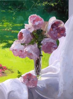 """Dennis Perrin  """"Roses on Sill"""""""