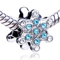 Pugster Snowflake With White And Aquamarine Birthstone Crystal Style Pandora Bead