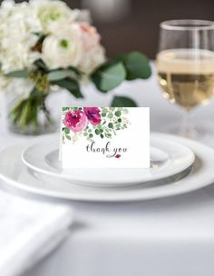 Floral thank you card template, Greenery thank you card template, thank you card printable template, Digital Download #DAPTHX-26 Thank You Card Template, Thank You Cards, Wedding Invitation Suite, Wedding Stationery, Printable Cards, Greenery, Place Card Holders, Templates, Table Decorations