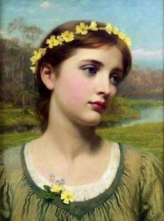 ~ Frank Dicksee ~ English artist, 1853-1928: Young Woman with Garland