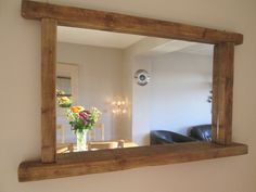 Rustic/Farmhouse/Driftwood chunky solid wooden mirror with shelf in Home, Furniture & DIY, Home Decor, Mirrors   eBay