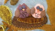 Sue Spargo workshop.  Here's a closeup of the owls...aren't the eyes cute?