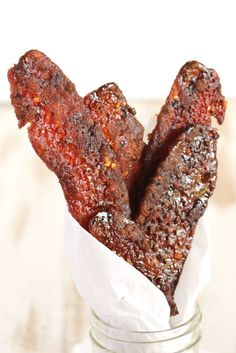 this is bacon like you've never tasted before. Sweet and Spicy Candied Bacon, also known as Millionaire's Bacon, is a. Candied Bacon Recipe, Bacon Recipes, Cooking Recipes, Jerky Recipes, Steak Recipes, Yummy Recipes, Recipies, Dessert Recipes, Desserts