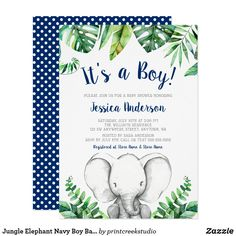 Jungle Elephant Boy Baby Shower Invitations Black Adorable boy elephant baby shower invitation design featuring watercolor tropical leaves, baby elephant and black polka dot pattern. Custom Baby Shower Invitations, Baby Shower Invitation Cards, Party Invitations, Invites, Cheap Baby Shower, Baby Boy Shower, Virtual Baby Shower, Baby Shower Decorations For Boys, Baby Elephant