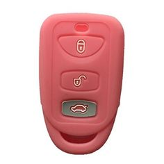 Pink 3 Buttons Silicone Key Fob Case Cover Jacket Key Skin fit for Kia Hyundai