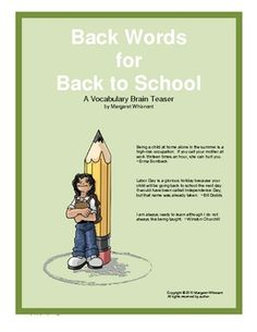 Back Words for Back to School--Free - Re-pinned by @PediaStaff – Please Visit http://ht.ly/63sNt for all our pediatric therapy pins