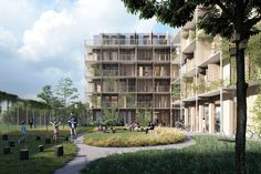 Kjellander Sjöberg Designs Four Cross-Laminated Timber Blocks to Enrich the Uppsala Cityscape,The new buildings feature cross-laminated timber cores, and wooden detailing. Image Courtesy of Kjellander Sjoberg
