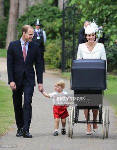 Kate & Pippa Style Twitter: Christening of Princess Charlotte of Cambridge, July 5, 2015-Duke and Duchess of Cambridge with Prince George and Princess Charlotte (in her pram)