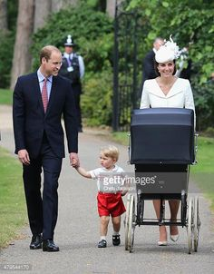 Christening of Princess Charlotte of Cambridge, July 5, 2015-Duke and Duchess of Cambridge with Prince George and Princess Charlotte (in her pram)