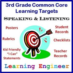 FREE  New and Improved - Learning Targets For Common Core State Standards 3rd Grade Speaking & Listening - Posters, Rubrics, Student Records, Teacher Records and checklists.