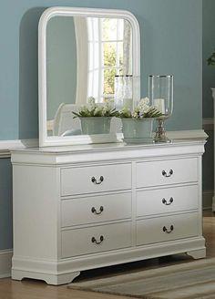 Marianne White Wood Metal Glass Dresser & Mirror