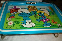 Vintage Serving Lunch Tray 1980s Vintage Toy Smurf Bed Tray Kitchen Tray Tin Toy   eBay