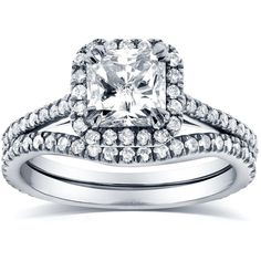 Art Deco Radiant-cut Halo Diamond Bridal Ring Set 1 1/2 Carat (ctw) in 14k White Gold featuring polyvore, fashion, jewelry, rings, white gold rings, 14k diamond ring, art deco engagement rings, engagement rings and white gold engagement rings