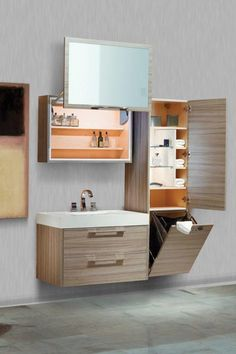 Nuvo Tempo Suite with Vanity, Laundry Hamper, Linen Tower and Uplift Medicine Cabinet BV17