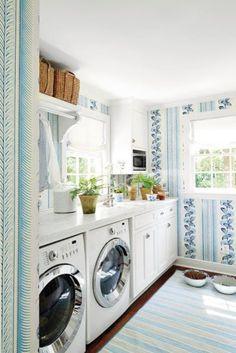 Coastal laundry room in blues and whites